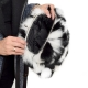 Black-White Fox Fur Purse / Black-White Fox Fur Shoulder Bag