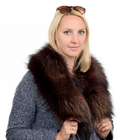 Limited Edition - Dyed Brown Silver Fox Fur Collar