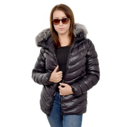 Short Black Winter Jacket with Silver Fox Fur Hood Trim