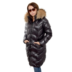 Women's Black Quilted Coat with Raccoon Fur Hood Trim