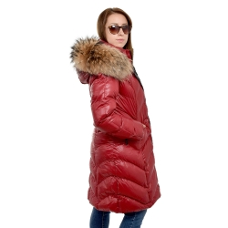 Women's Red Quilted Coat with Raccoon Fur Hood Trim