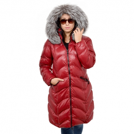 Women's Red Quilted Coat with Silver Fox Fur Hood Trim