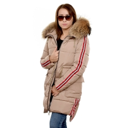 Beige Jacket with Stripes and Raccoon Fur Hood Trim