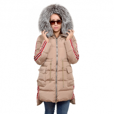 Beige Jacket with Stripes and Silver Fox Fur Hood Trim