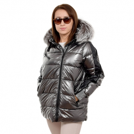 Silver Quilted Jacket with Silver Fox Fur Hood Trim