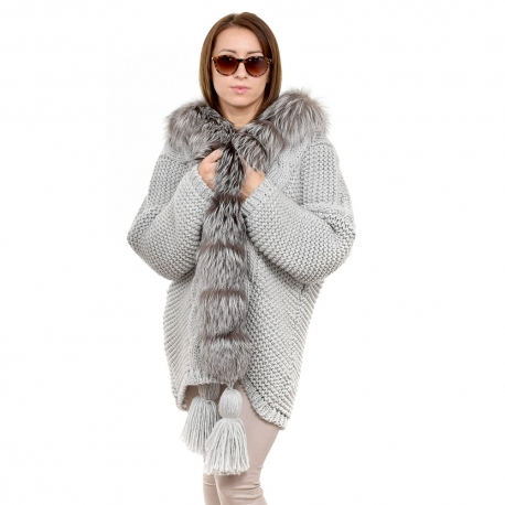 Grey Sweater Trimmed with Silver Fox Fur