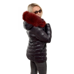 Short Black Winter Jacket with Raccoon Fur Hood Trim