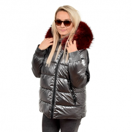 Silver Quilted Jacket with Raccoon Fur Hood Trim