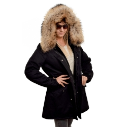 Black Parka with Hood of Finn Raccoon Fur