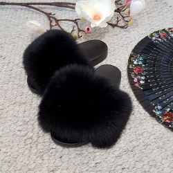 Women's Fur Slides, Sandals with Black Fox Fur
