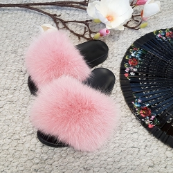 Women's Pink Fur Slides, Sandals with Pink Fox Fur