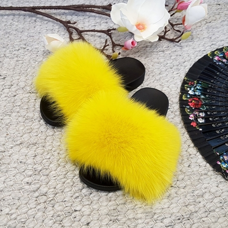 Women's Fur Slides, Sandals with Yellow Fox Fur