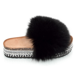 Platform Slides with Black Fox Fur and Rivets