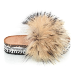 Platform Slides with Raccoon Fur and Rivets