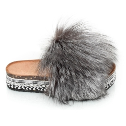 Platform Slides with Silver Fox Fur and Rivets