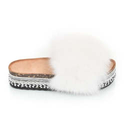 Platform Slides with White Fox Fur and Rivets