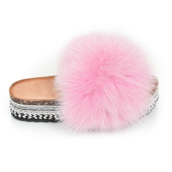 Platform Slides with Pink Fox Fur and Rivets