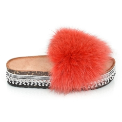 Platform Slides with Red Fox Fur and Rivets
