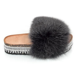 Platform Slides with Graphite Fox Fur and Rivets