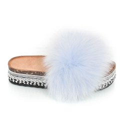 Platform Slides with Light Blue Fox Fur and Rivets