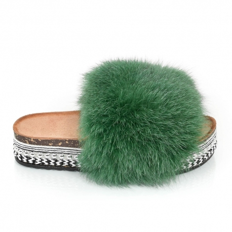 Platform Slides with Green Fox Fur and Rivets