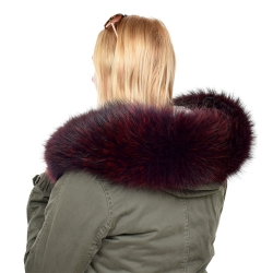 Limited Edition - Maroon Raccoon Fur Hood Trim (88cm)
