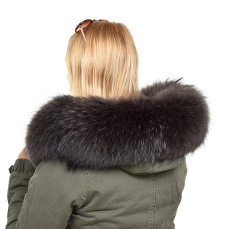 Limited Edition - Graphite Raccoon Fur Hood Trim (83cm)
