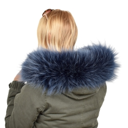 Limited Edition - Navy Blue Raccoon Fur Hood Trim (74cm)