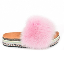 Women's Platform Slides with Pink Fox Fur
