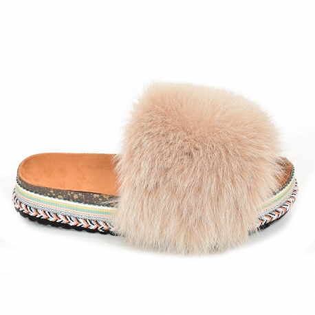 Women's Platform Slides with Beige Fox Fur