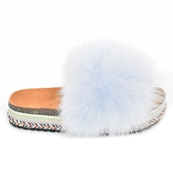 Women's Platform Slides with Light Blue Fox Fur