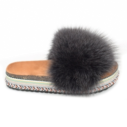 Women's Platform Slides with Graphite Fox Fur