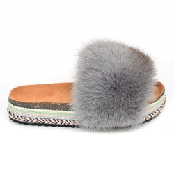 Women's Platform Slides with Grey Fox Fur