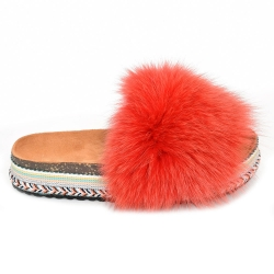 Women's Platform Slides with Red Fox Fur
