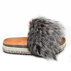 Women's Platform Slides with Silver Fox Fur
