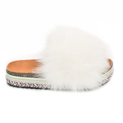 Women's Platform Slides with White Fox Fur