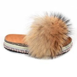 Women's Platform Slides with Finn Raccoon Fur