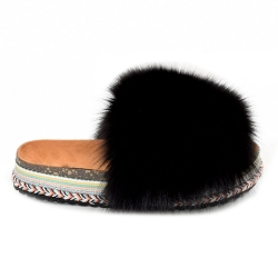 Women's Platform Slides with Black Fox Fur