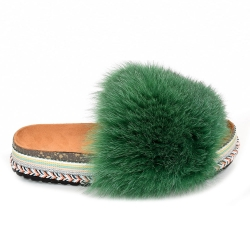 Women's Platform Slides with Green Fox Fur