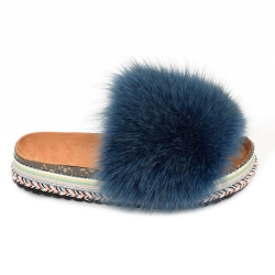 Women's Platform Slides with Navy Blue Fox Fur