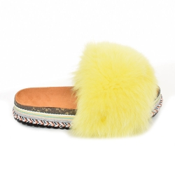 Women's Platform Slides with Yellow Fox Fur