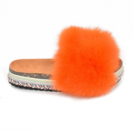 Women's Platform Slides with Orange Fox Fur