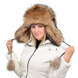 Genuine Women's Raccoon Fur Hat / Ushanka Hat