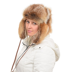 Genuine Women's Red Fox Fur Hat / Ushanka Hat