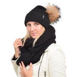 Women's Wool Hat with Raccoon Fur Pom Pom ROMA