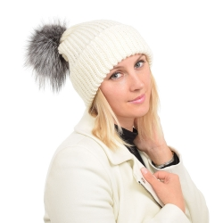 Ecru Wool Hat with Silver Fox Fur Pom Pom ROMA