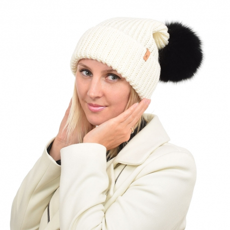 Ecru Wool Hat with Black Fox Fur Pom Pom ROMA