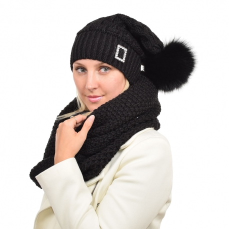 Black Wool Beanie Hat with Black Fox Fur Pom Pom PARIS
