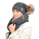 Wool Hat & Snood Set with Black Fox Fur Pom Pom PARIS