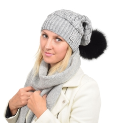Ashen Wool Beanie Hat with Black Fox Fur Pom Pom PARIS